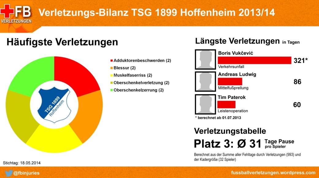 Verletzungs-Bilanz TSG Hoffenheim 2013/14