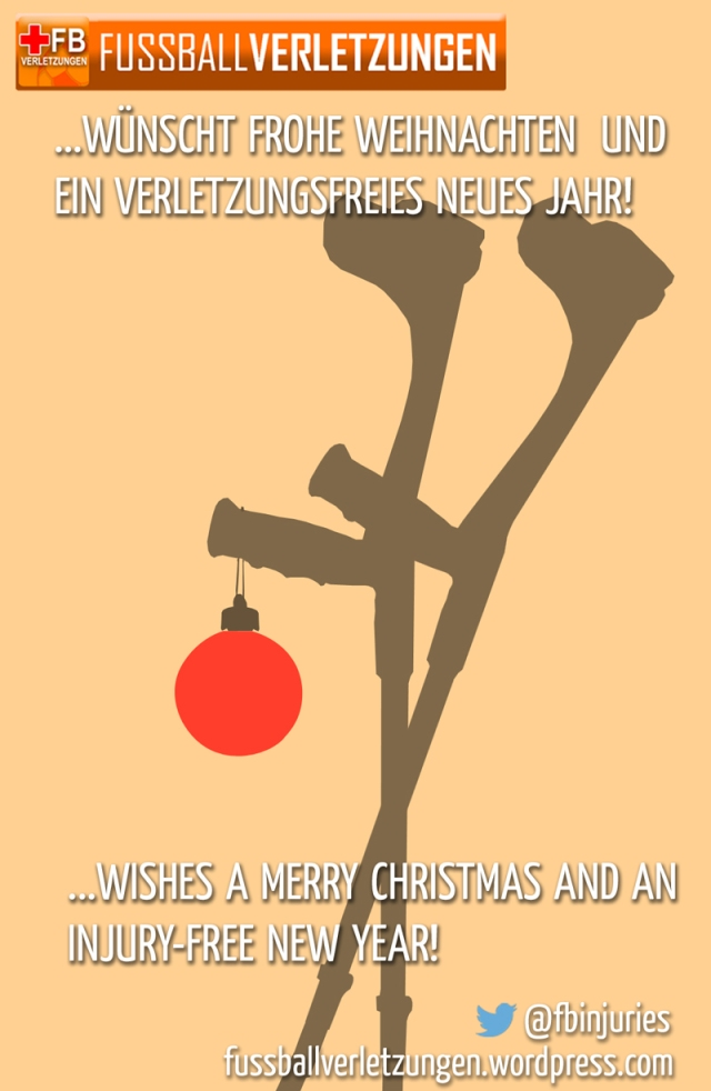 FußballVerletzungen wünscht Frohe Weihnachten und ein verletzungsfreies neues Jahr! FootballInjuries wishes a merry christmas and an injury-free new year!