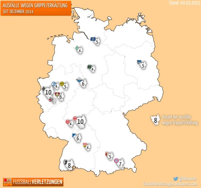 Grafik Grippewelle: Frankfurt, Freiburg und Gladbach hat es am härtesten getroffen, Köln weitestgehend verschont